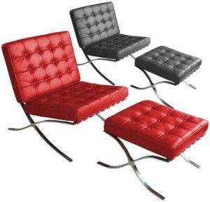 Møbler - Rød og sort læderstol